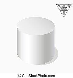 cilindro, 10., eps, ilustração, vetorial, fundo, axonometry., branca