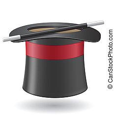 cilindro, batuta mágica, ilustração, vetorial, chapéu