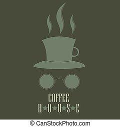 cilindro, café, forma, copo