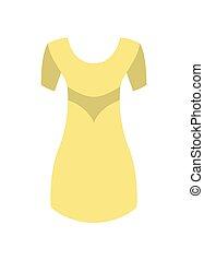 cilindro corto, giallo, rotondo, vettore, vestire, colletto