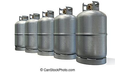 cilindro, gás, fila