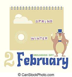 cilindro, marmota, fundo, groundhog, dia, feliz