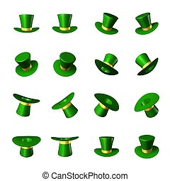 cilindro, oro, st., -, illustrazione, giorno, vettore, cappello verde, patrick's, nastro