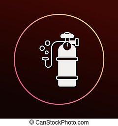 cilindro, oxígeno, icono