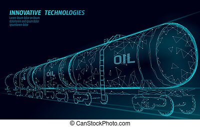 cilindro, render, diesel, tank., cisterna, ferrovia, petróleo, polygonal, baixo, econômico, combustível, poly., óleo, finanças, ilustração negócio, linha trem, vagão, indústria, gasolina, vetorial, logistic, estrada ferro, 3d