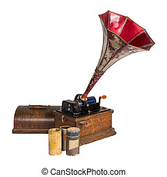 cilindro, tre, taglio, percorso tagliente, vecchio, grammofono registra, fuori