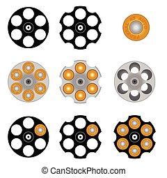 cilindro, vector, revólver, ilustración