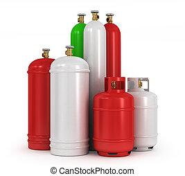 cilindros, com, a, comprimido, gases, ligado, um, fundo...
