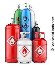 cilindros, com, gás comprimido