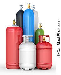 cilindros, con, el, comprimido, gases