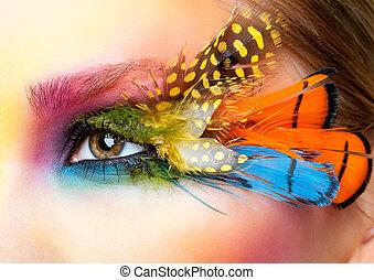 cils, femme, faux, plume, maquillage