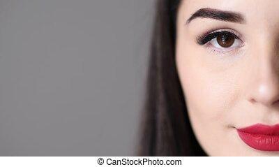 cils, oeil femme, elle, yopung, maquillage, long, closeup, portrait, ouvert