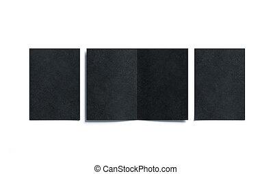 cima, aberta, livreto, dobrado, dois, a5, fechado, em branco, pretas, escarneça