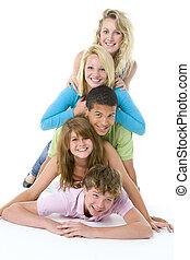cima, adolescenti, un altro, uno