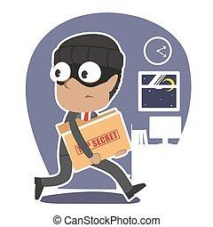 cima, africano, ladro, segreto, rubare, uomo affari, cartella, documento