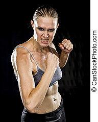 cima, agressivo, atlético, mulher, em, combate, pose