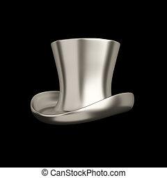 cima, aislado, elegante, negro, retro, sombrero, plata