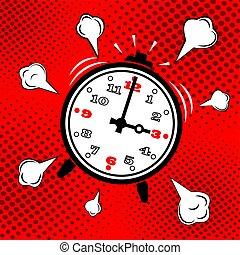 cima., alarme, acordar, icon., relógio