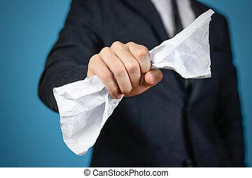 cima., amarrotado, folha, paper., isolado, a4, segurando, homem negócios, fim
