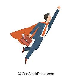 cima., apartamento, moscas, superhero, illustration., negócio, concept., vetorial, crescimento, liderança, paleto, homem negócios, design.