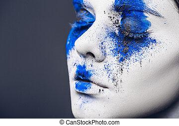 cima., azul, moda, coloridos, fazer, maquilagem, modelo, luminoso, menina, fantasia, skin., mulher, pó, maquiagem, retrato, branca, abstratos
