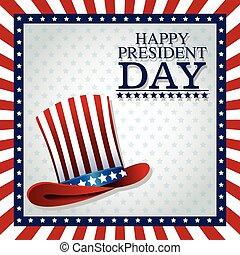cima, bandiera, giorno, presidente americano, cappello, cornice, felice