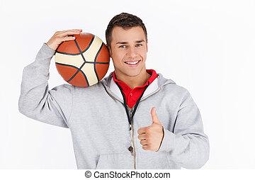 cima., basquetebol, mostrando, treinador, polegares, fundo, branca
