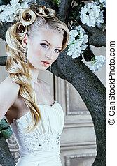 cima, beleza, vindima, estilo, jovem, noiva, luxo, lote, ...