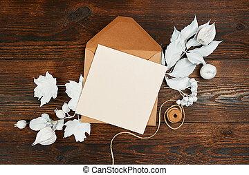 cima, blanco, arte, pensil, oscuridad, marrón, hoja, espacio, colocar, vista., backgound, vacío, papel, mano, plano, otoño, letras, de madera, composición, o, copia, hojas, kraft, imagen, su, hecho, mockup