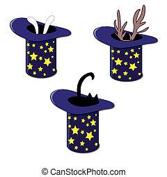 cima blu, cappello, orecchi coniglio