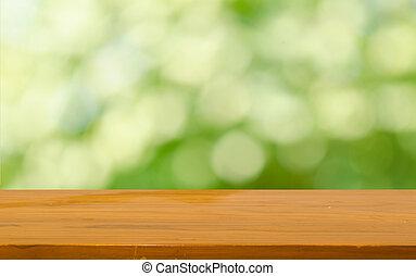 cima, bokeh, tabla, madera