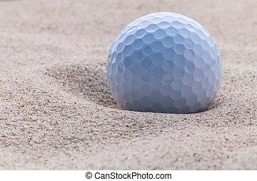 cima, bola golfe, em, caixa areia, raso, profundidade, de, field.