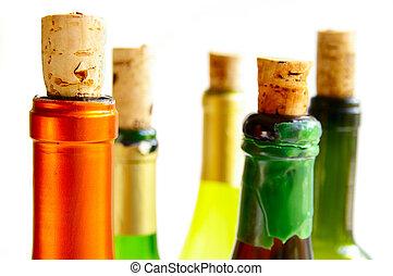 cima, botellas de vino, corchos
