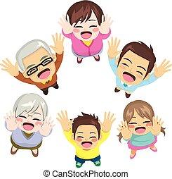 cima, braços, família, feliz
