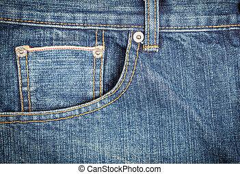 cima, calças brim, bolso