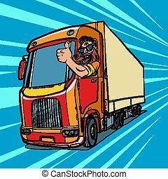 cima, caminhão, driver., polegares, barba, homem