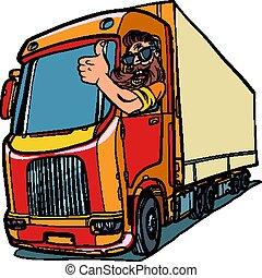 cima, caminhão, polegares, driver., homem, barba