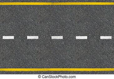cima, camino, asfalto, vista