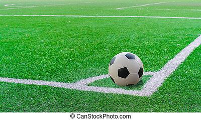 cima, campo, raya verde, blanco, futbol, vista
