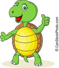 cima, caricatura, tartaruga, polegar