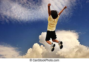 cima, celebra, sucedido, vencedor, saltando alto, criança