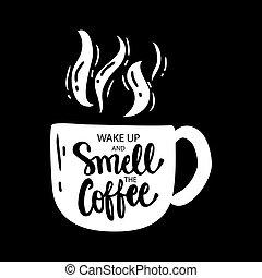 cima, cheiro, acordar, coffee.