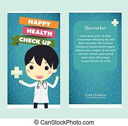 cima, cheque, saúde