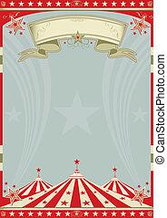 cima, circo, grande, retro