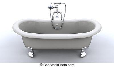 cima, clásico, rollo, baño