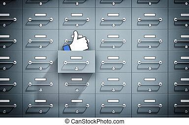 cima., cofre, lockers., ilustração, metaphor., polegares, social, redes, 3d