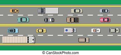cima, collezione, vario, vehicles., strada, vista