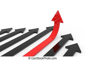 cima., conceito, growth., sucesso, seta, vermelho