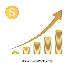 cima., conceito, illustration., moedas, vetorial, seta,...