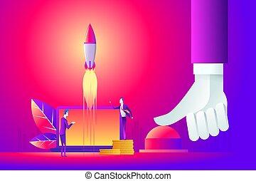 cima, conceito, negócio, concept., empurrar, ilustração, mão, início, homem negócios, botão, guerra